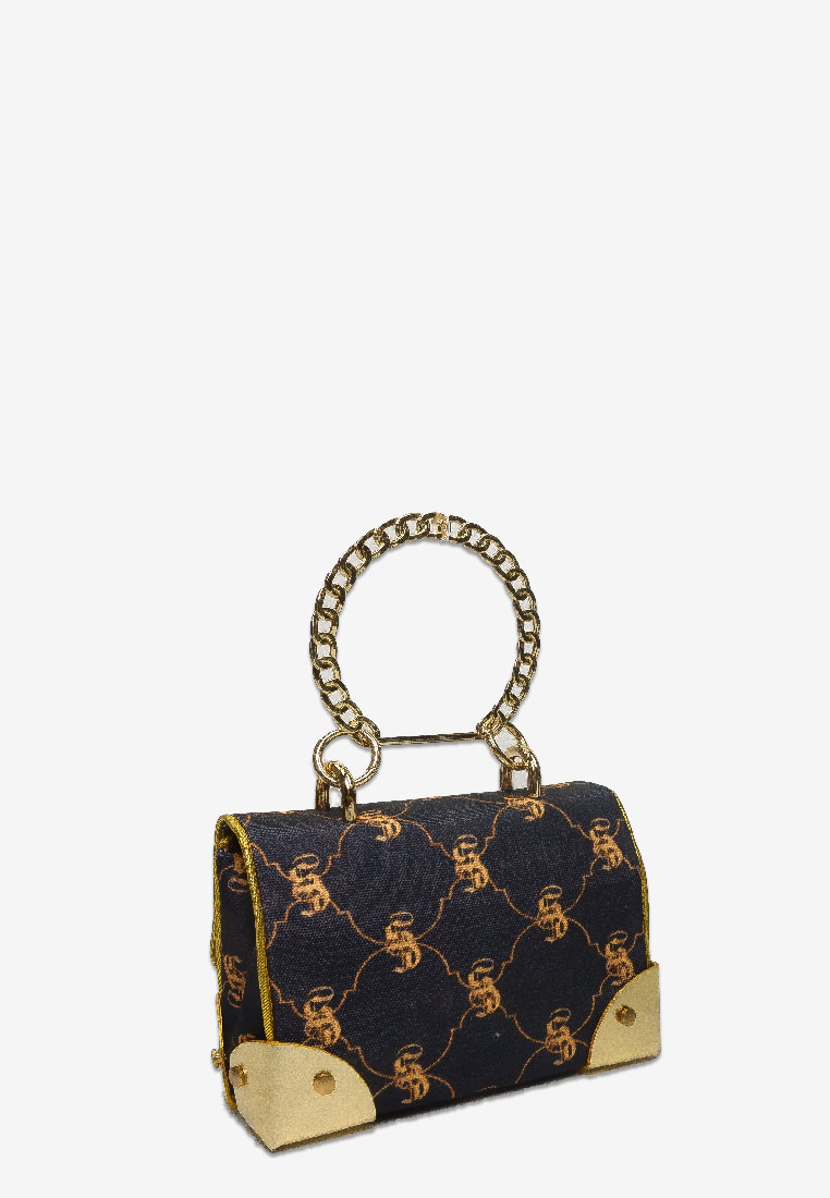 Canvas Monogram Bag with Logo in Black with Gold Chain