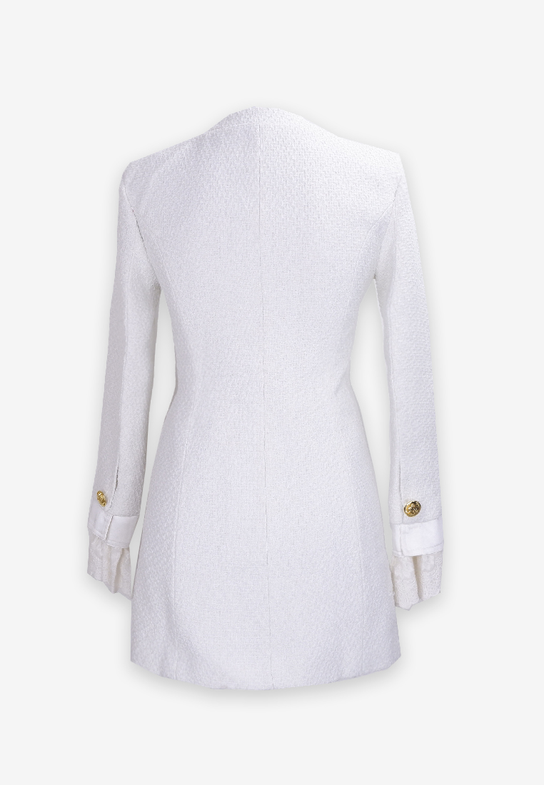 White Tweed Mini Dress with Lace Sleeves
