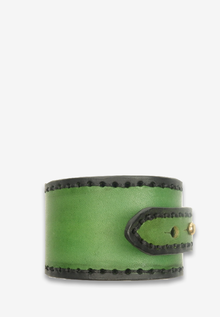 Minato Minimal Leather Bracelet Green Leather