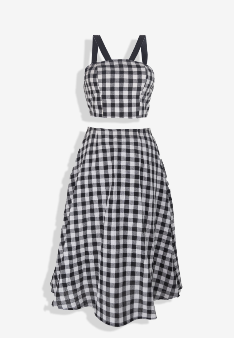 Black & White Flannel Top & Skirt Set
