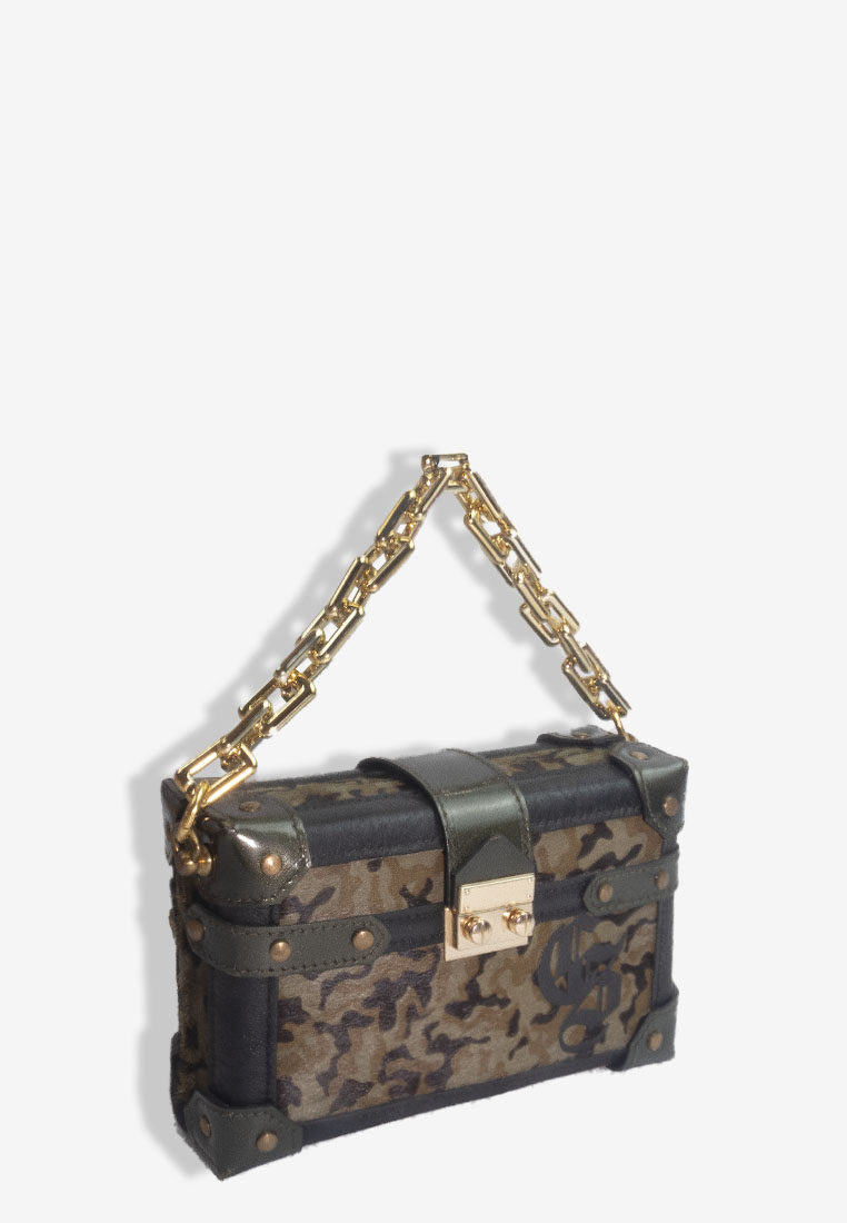 BOX CLUTCH CAMOUFLAGE TRUNK BAG WITH GOLD CHAIN