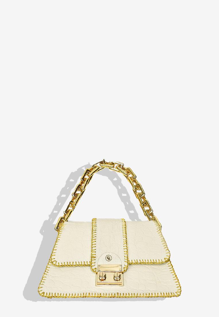 Harper Bag White Croc Print with Gold Chain