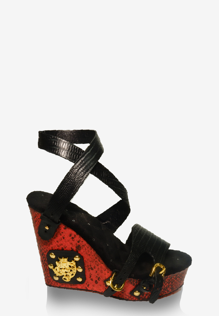 Wedges Red Snakeskin Leather