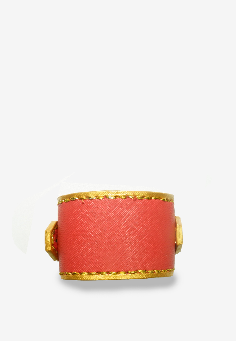 Cargo Bracelet Red and Gold Leather