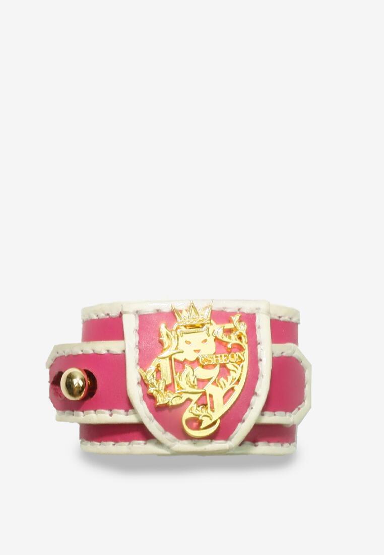 Minato Leather Bracelet White Edge and Pink Leather