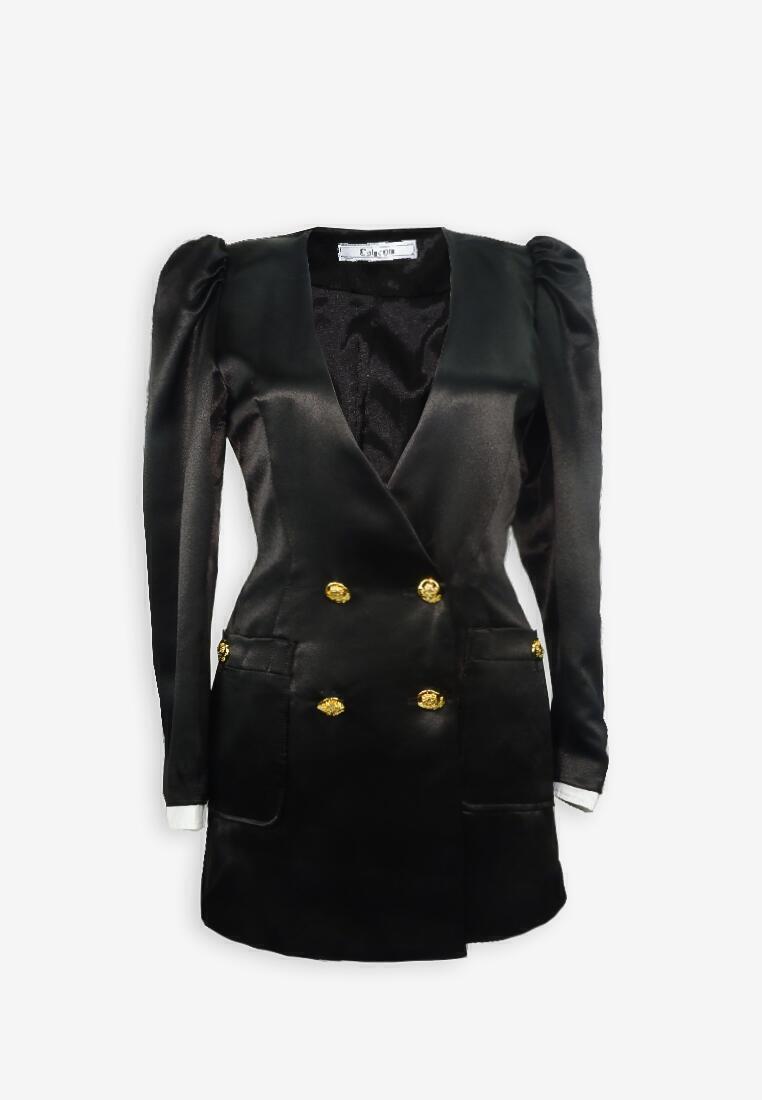 Silk Black Double Breasted Blazer Dress