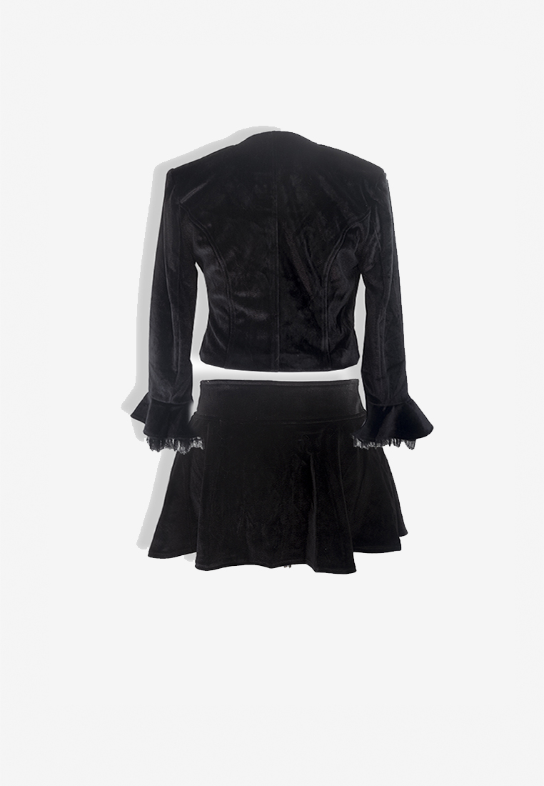 Dina Black Velvet Skort Set