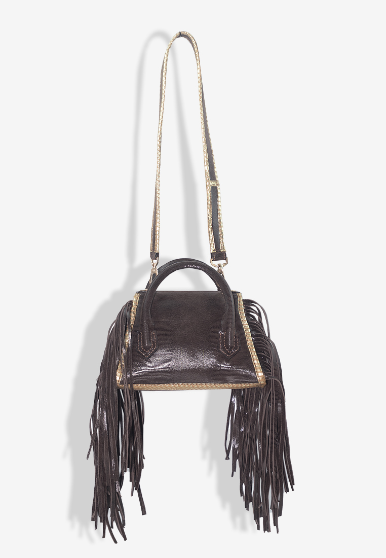 Aubree Fringe Bag in Dark Brown Leather