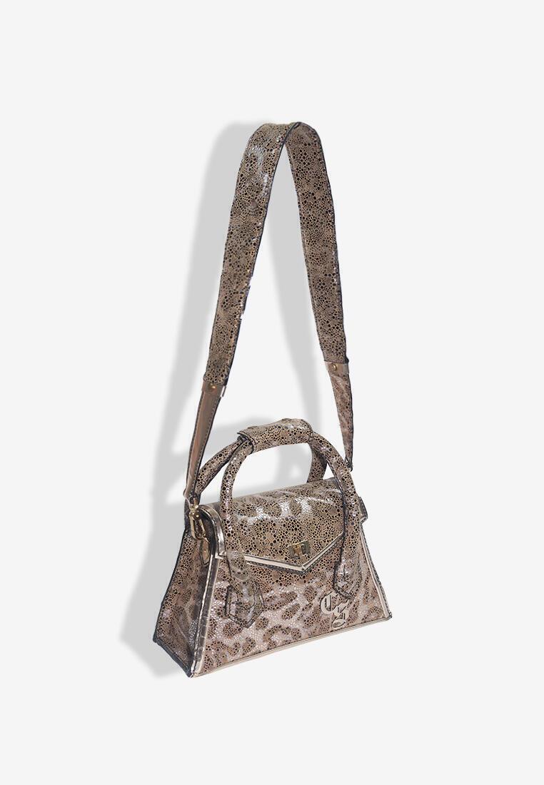 Aubree Fringe Bag in Glossy Leopard Design Leather