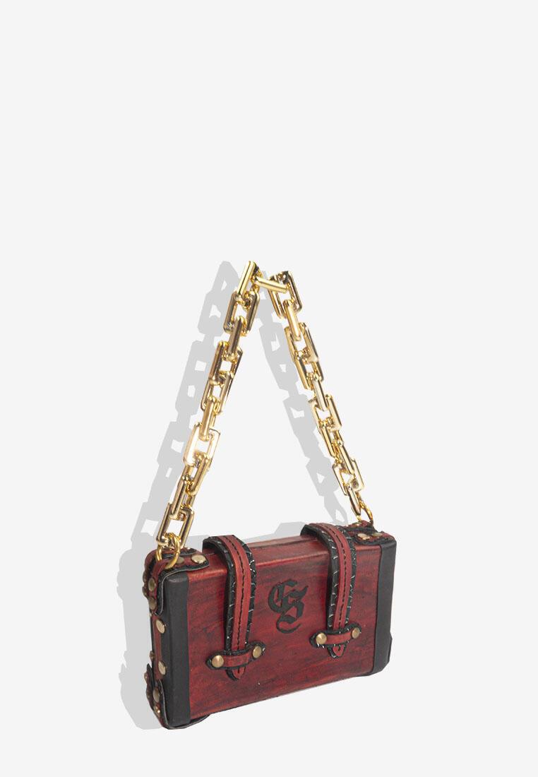 Asheria Mini Vintage Marble Trunk Chain Bag