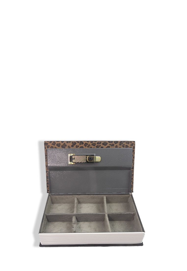 Black Gold Leather Jewelry Box with Password Safe